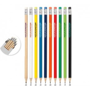 Geslepen potloden met gum bedrukken