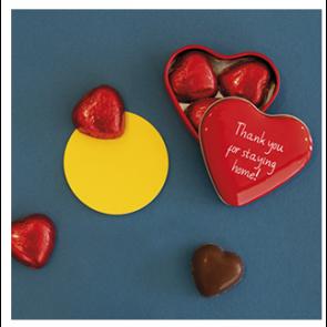 Blikje met 3 chocolade hartjes