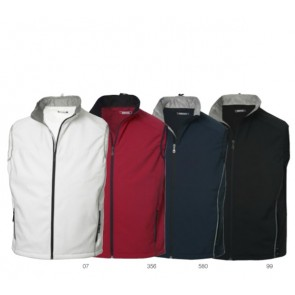 Softshell heren bodywarmers, te bedrukken of borduren met logo of tekst.