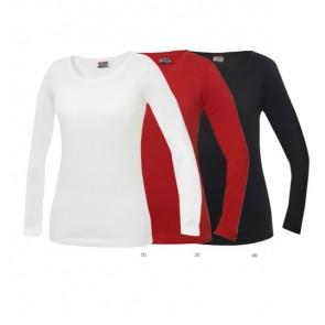Dames Top Bedrukken als bedrijfskleding. Dames stretch top ronde hals met lange mouwen in single jersey.