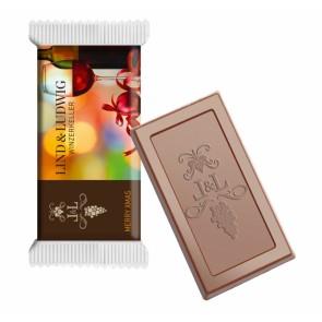 Chocolade met gestanst logo in bedrukte folie