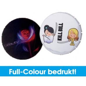 Mintblikjes met Full-Colour druk - Goedkope click clacks met full-colour bedrukking.