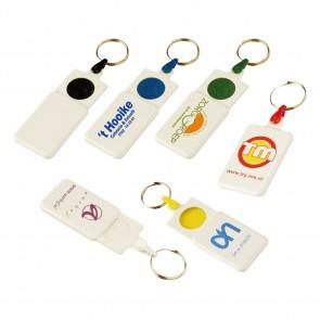 Sleutelhanger winkelwagenmuntjes goedkoop bedrukken, winkelwagenmunt sleutelhanger