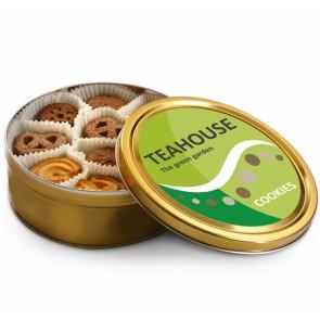 Koektrommels bedrukken - Trommel gevuld met Deense koekjes met full-colour label