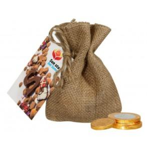 Jute zakje met chocolademunten