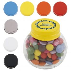 Glazen potjes goedkoop bedrukken - Gevuld met mints, jelly beans of choco's. 503520