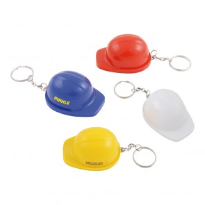 Sleutelhanger flesopener Bouwhelm. Flesopener Helm Sleutelhanger met opdruk.