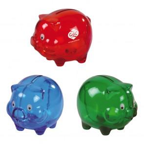 Spaarvarken goedkoop bedrukken. Blauw, rood of groen spaarvarkentje.