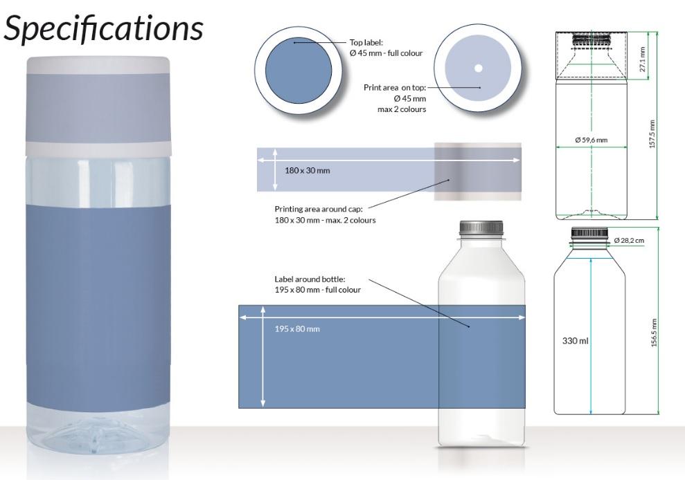 waterflesjes bedrukken specificaties
